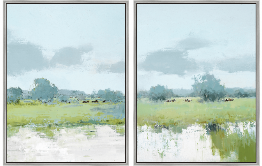 Meadow Magic - Diptych - Silver Floater Frame